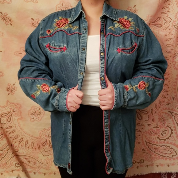 Martini Ranch Tops - Embroidered Roses Jean Button Down Western Shirt
